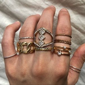 11 Assorted Rings Lot Silver Gold Color